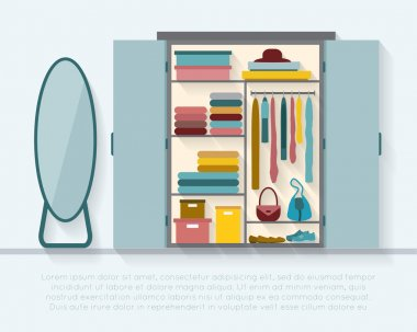 Wardrobe for cloths with mirror.