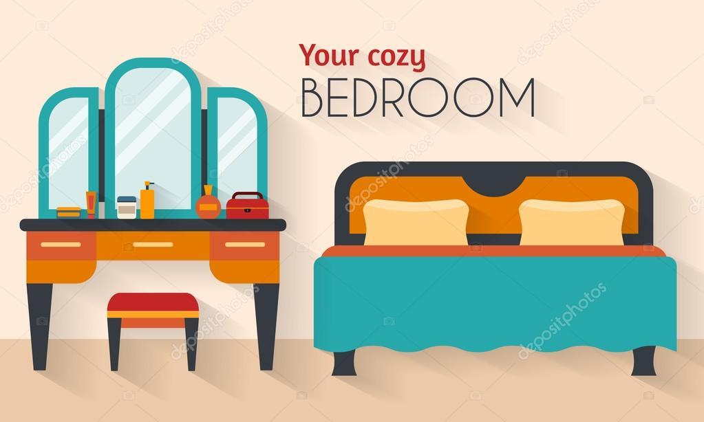 Slaapkamer met meubels in vlakke stijl — Stockvector © Elvetica ...