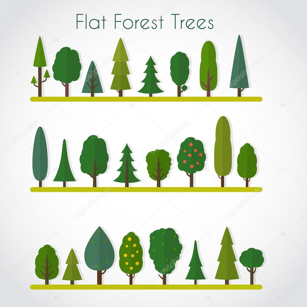 Forest elements - trees and fir-trees