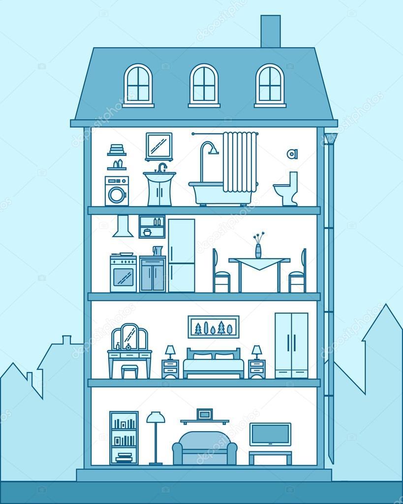 Ausführliche moderne Haus innen — Stockvektor © Elvetica #77300106