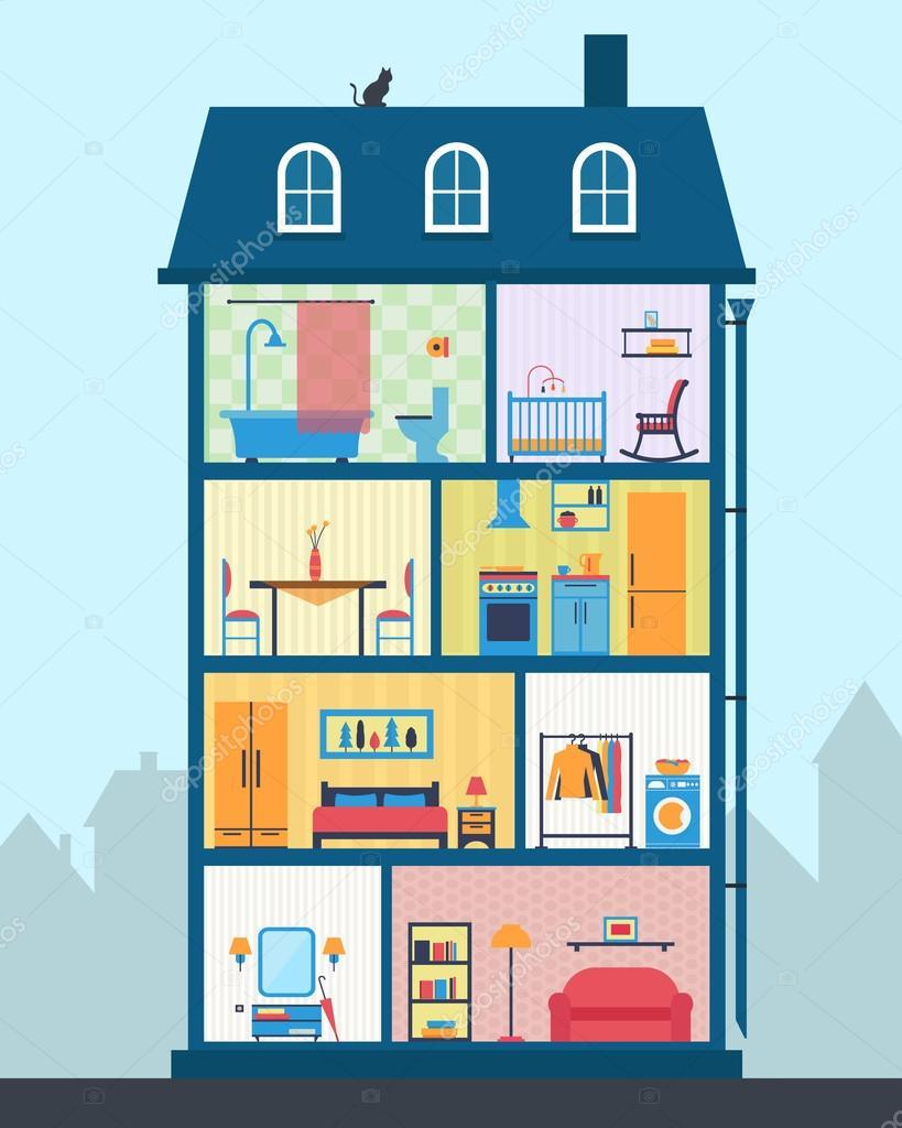 Ausführliche moderne Haus innen — Stockvektor © Elvetica #77300108