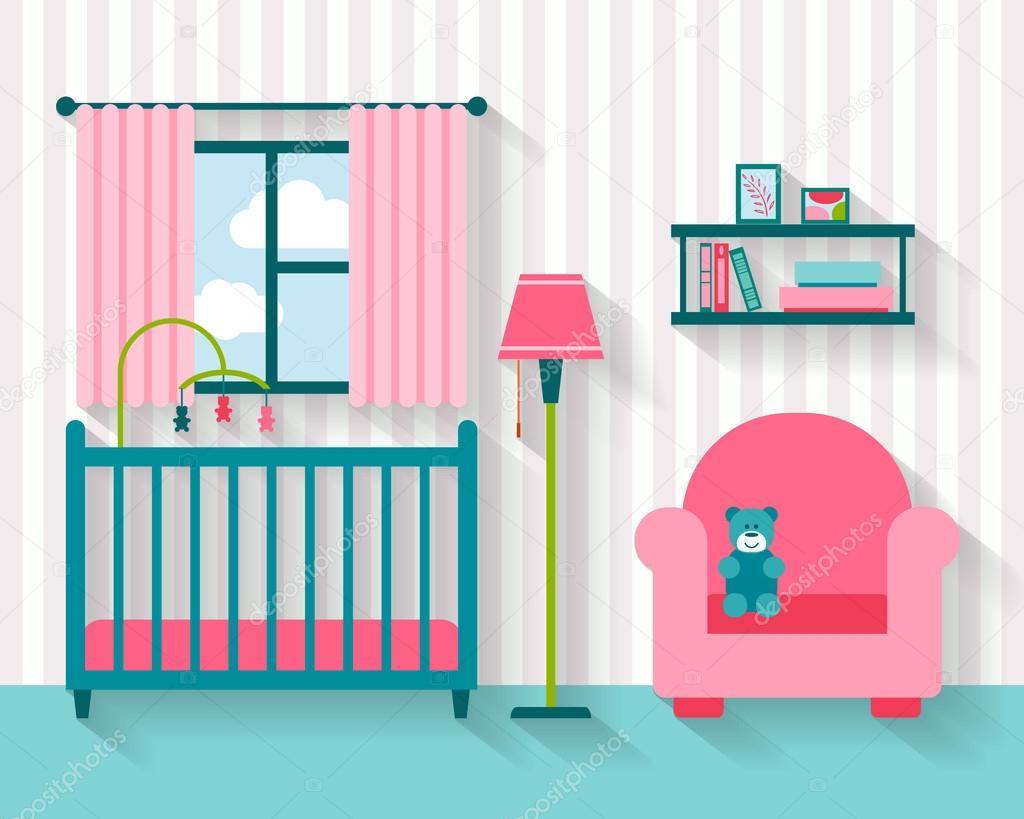 Habitación de bebé con muebles — Vector de stock © Elvetica #77300798