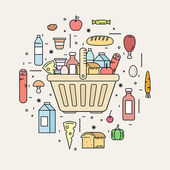 Fotografie Shopping basket with food products