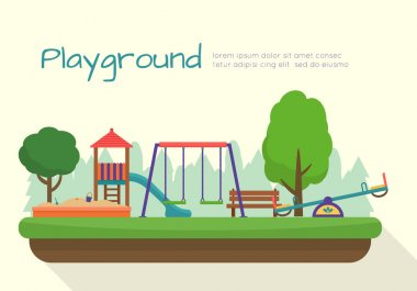 Kids playground. Building for city construction. Set of elements to create urban background, village and town landscape. Flat style vector illustration. stock vector