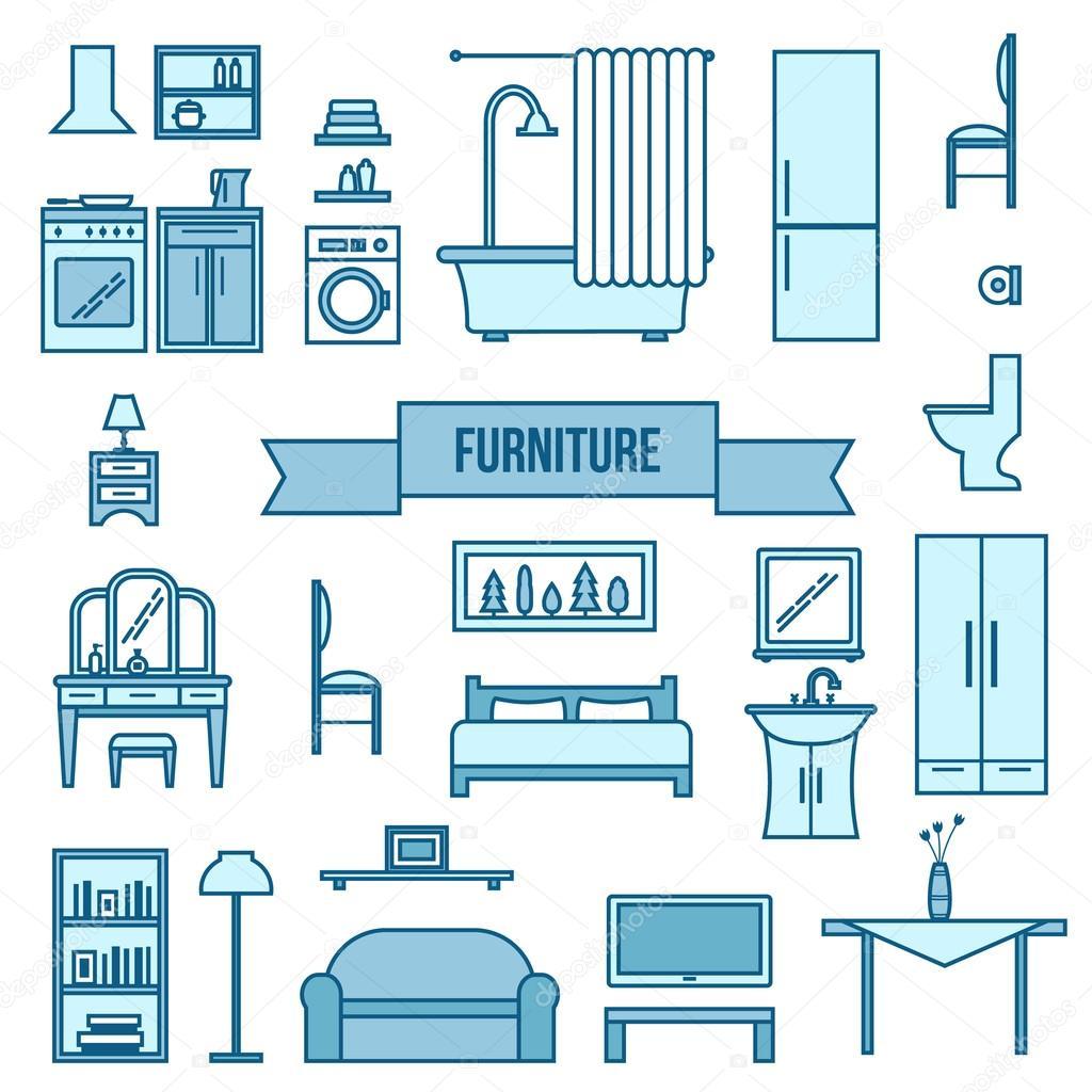 Möbel Set Für Räumen Des Hauses U2014 Stockvektor