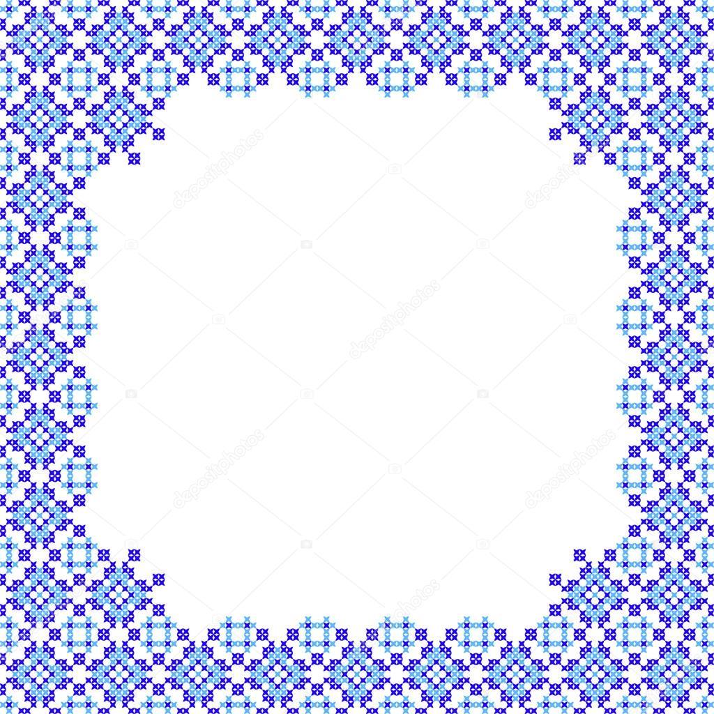 Patrones de marco azul en lona — Archivo Imágenes Vectoriales ...