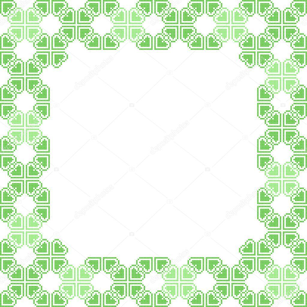 Marco verde con patrones abstractos — Archivo Imágenes Vectoriales ...
