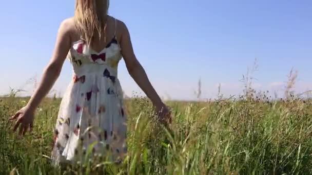 dreamy woman walking in a meadow towards infinity