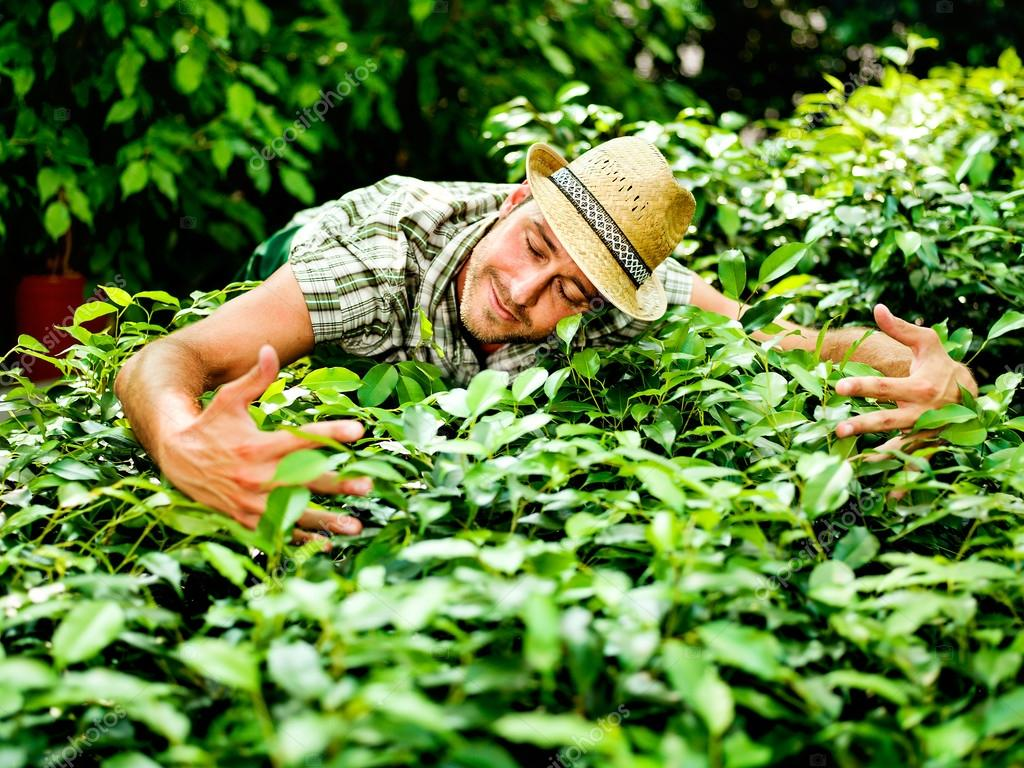 Farmer hugs with passion his plants