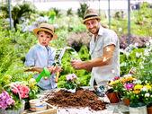 Otec a syn hraje s pracovní nástroje ve skleníku