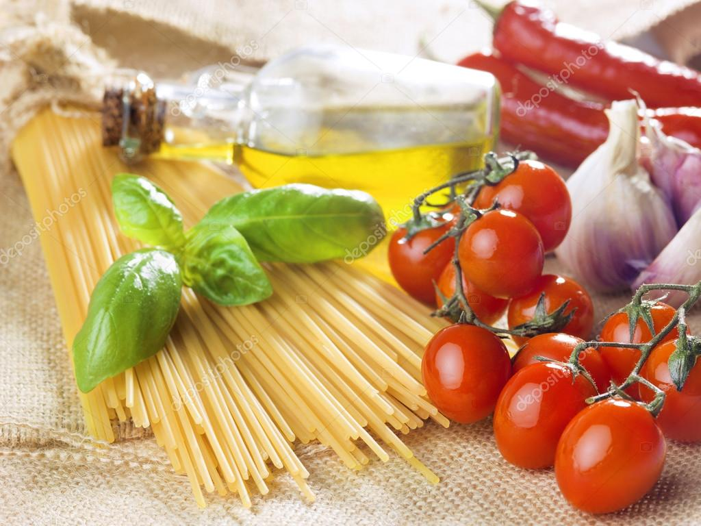 Composition of pasta spaghetti vegetables, spices and oil