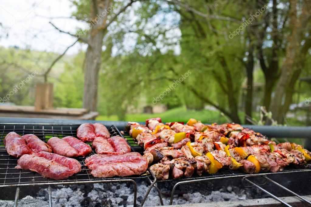 Delicious barbecue outdoors in nature