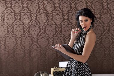 Sexy secretary provocating clients, vintage scene