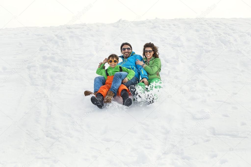 friends having fun in the snow