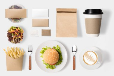 Design concept of mockup burger and coffee set isolated on white