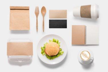 Design concept  brand of mockup burger set isolated on white bac