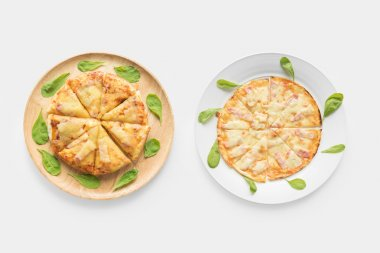 Design concept of pizza set isolated on white background.