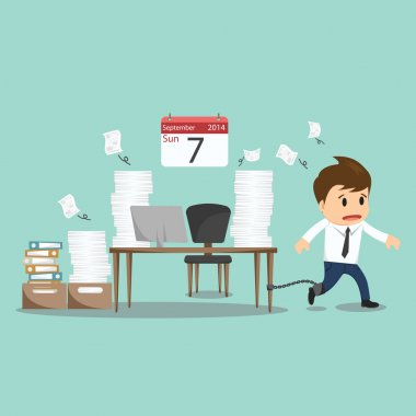 Businessman chained to the office desk on sunday vector illustra