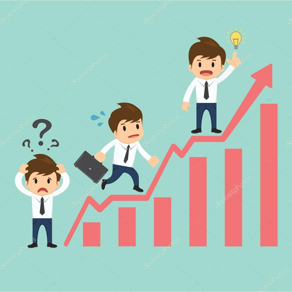 Businessman over growing chart vector illustration