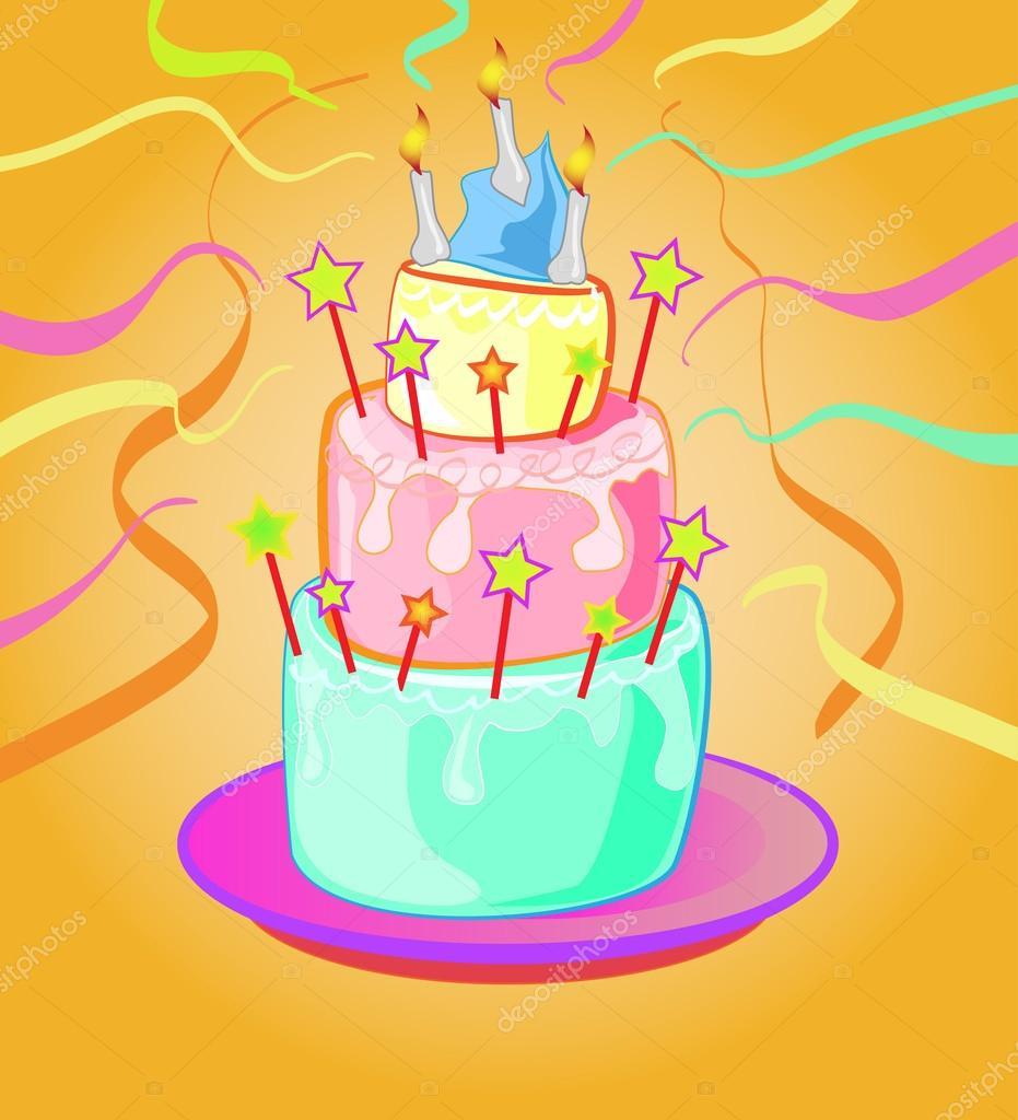 Awe Inspiring Funky Birthday Cakes Funky Birthday Cake Stock Vector Personalised Birthday Cards Arneslily Jamesorg