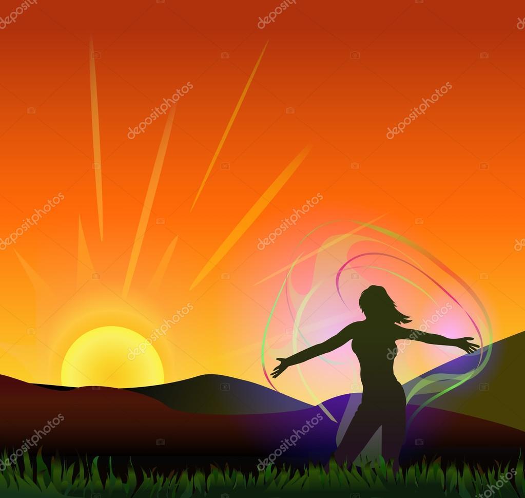 Woman feeling energy