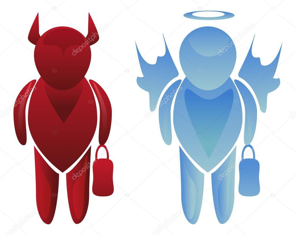 Engel En Duivel Zakelijke Tekens Stockvector Amudsen