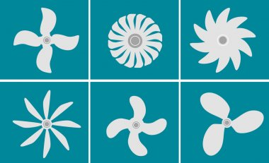 Black fans and propellers icons