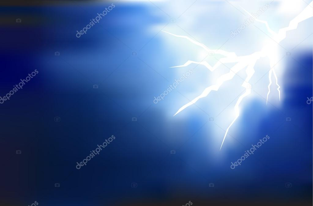 Thunder Lighting Background On Dark Illustration U2014 Fotografia De Stock