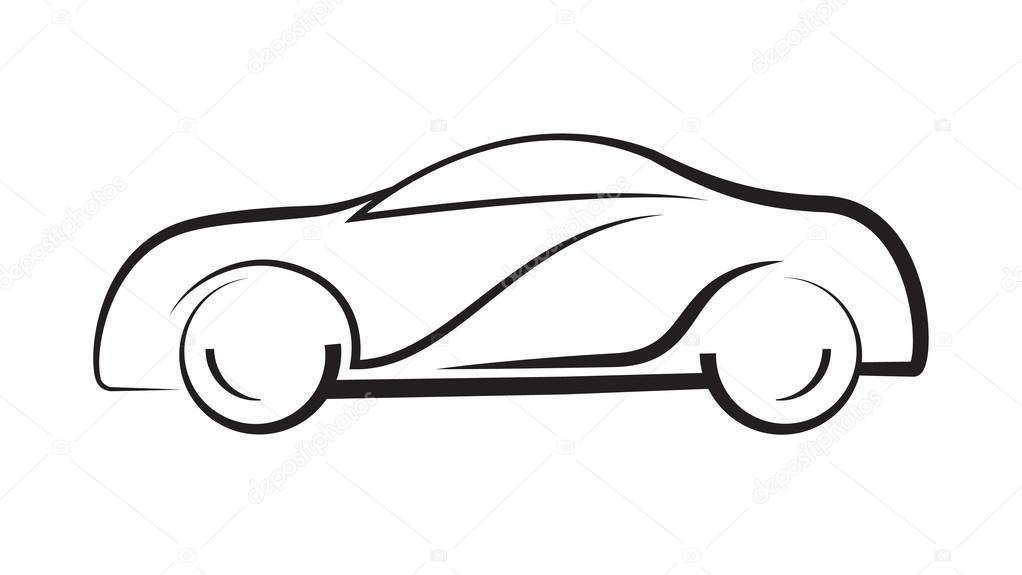 Car Side View Line Outline Silhouette Drawing Stock Vector