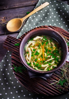 Bowl with cabbage soup.