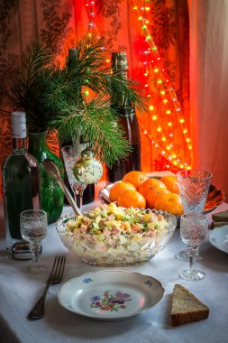 The table laid by new year in soviet union style.