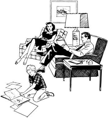 Family Relaxing In Livingroom