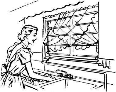 Lady Washing Dishes