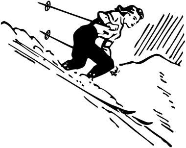Vintage illustration of Skier Woman