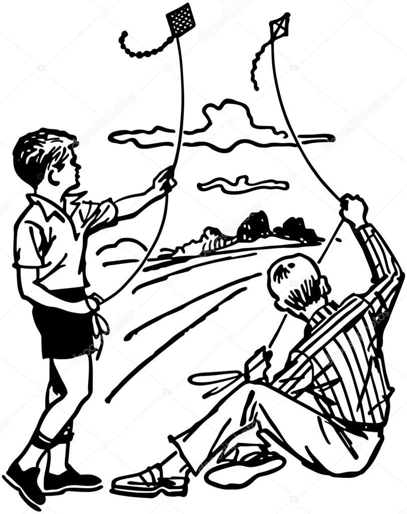 Niños volando cometas — Archivo Imágenes Vectoriales © RetroClipArt ...