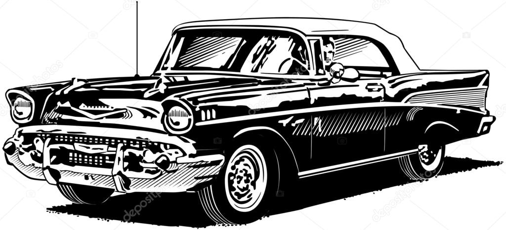 retro convertible 57 chevy stock vector  u00a9 retroclipart 57 Chevy Cartoon 57 chevy clipart black and white