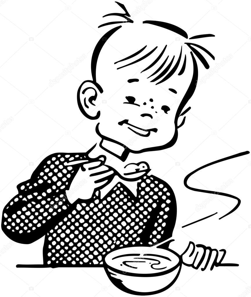 Девочка завтракает картинка черно белая