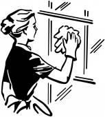Fotografie žena čištění okno doma