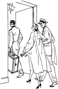 Travelers Entering Hotel