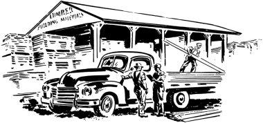 Pickup Truck And Lumber Yard