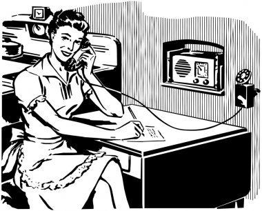 Woman sitting at the desk, writes on paper and answer to the phone call. Black and white clip art vector