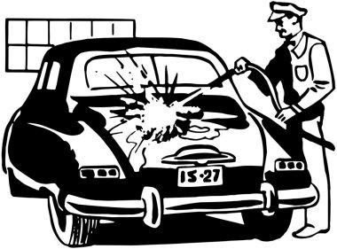 Serviceman Washing Car