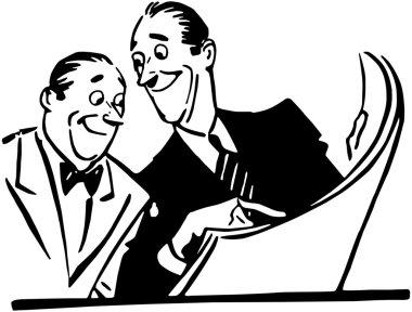 Two Men Reading Newspaper