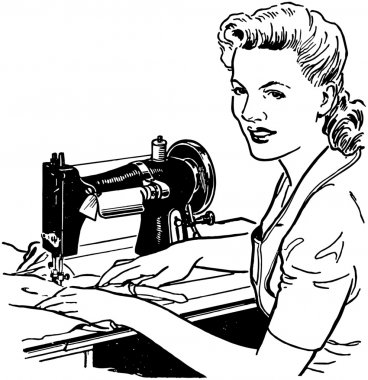 Woman Sewing retro illustration