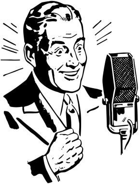 Doodle Radio Announcer isolated on white background