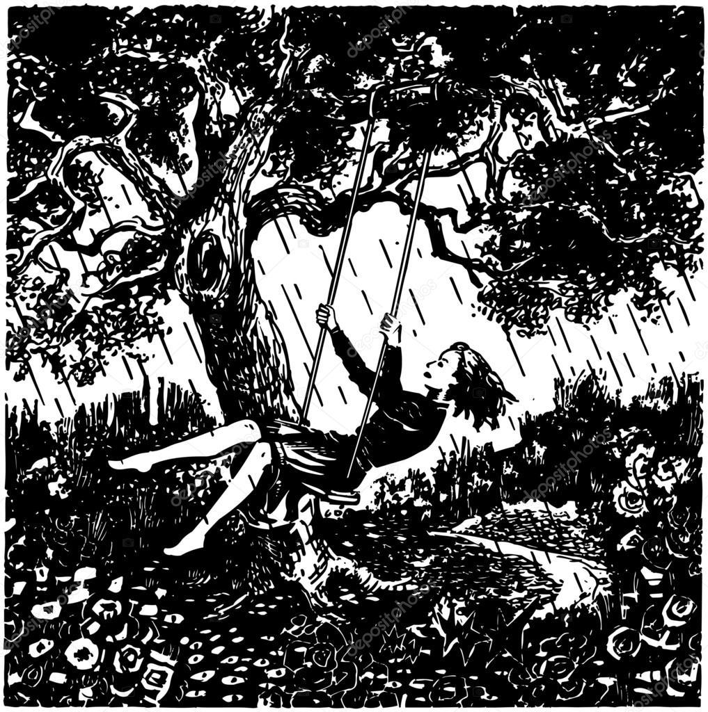 Woman On Tree Swing