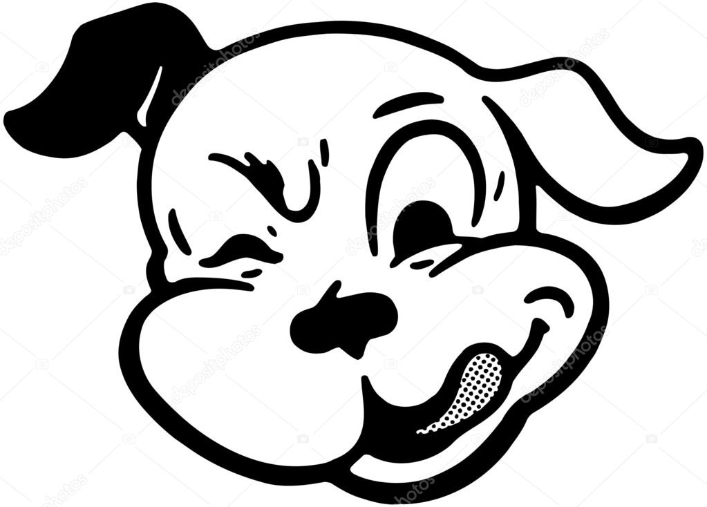 guiño perro — Vector de stock © RetroClipArt #55674579