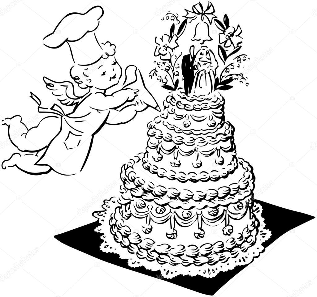 Hochzeitstorte Und Cherub Stockvektor C Retroclipart 55675035