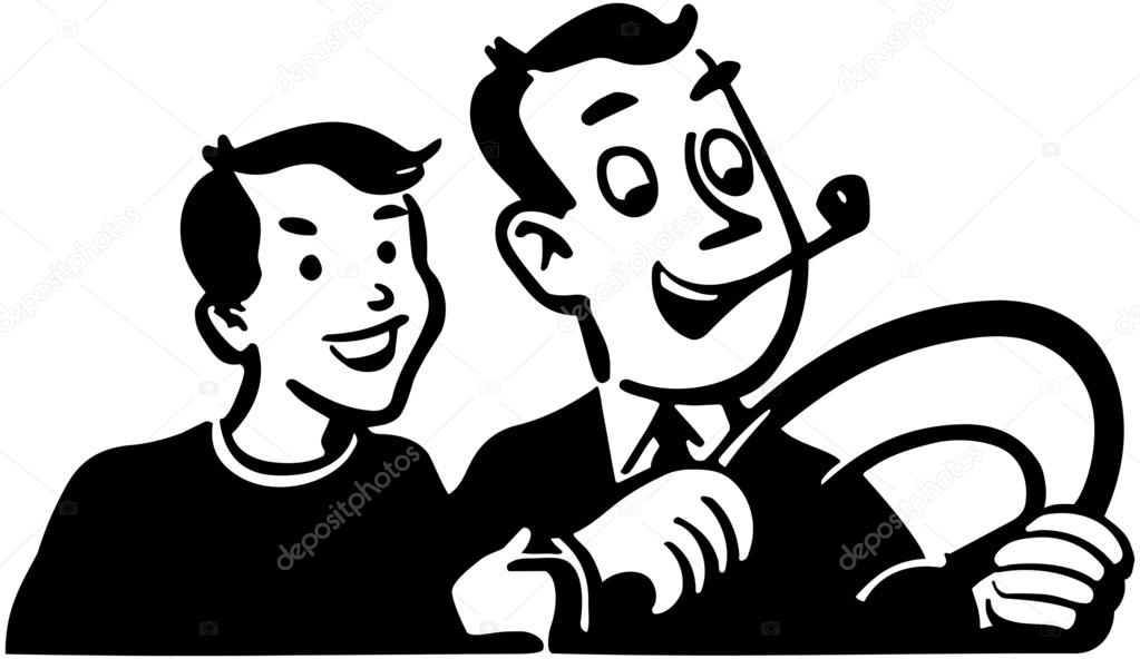 dad driving with son stock vector retroclipart 55676175 Clip Art of 1950 S dad driving with son stock vector