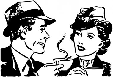 Couple chatting during drinking tea, illustration
